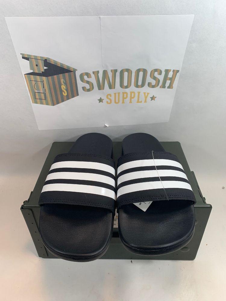 adidas Mens ADILETTE CLOUDFOAM PLUS STRIPES AP9971 SLIDES Black White  Sandals  adidas  Slides 6dc4d8ac4