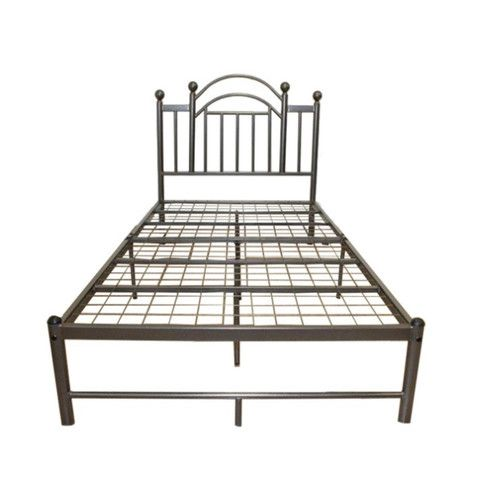 Twin Size Silver Metal Platform Bed Frame With Headboard   Quality House