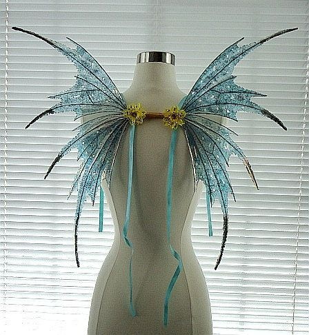 Fairy Wings-Iridescent Turquaoise Sprite Adult and Children (Made to Order by Request). $75.00, via Etsy.: