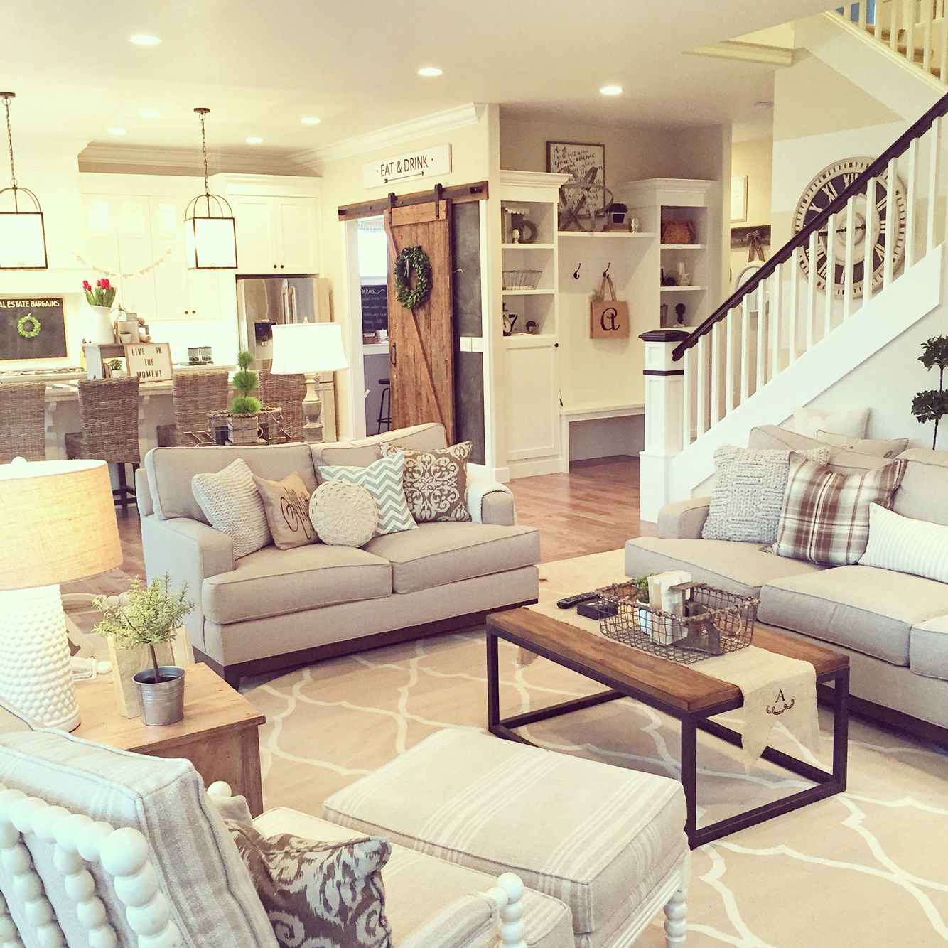 texture is the key to the neutral color palette in this on colors for farmhouse living room id=18573