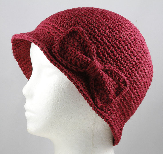 Cloche Hat in Wine for Cancer Patients by TheCardcraftersCove, $30.00