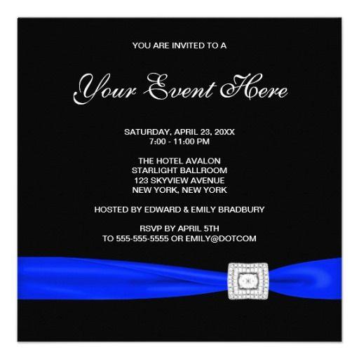 Black And Royal Blue All Occasion Invitation Zazzle Com