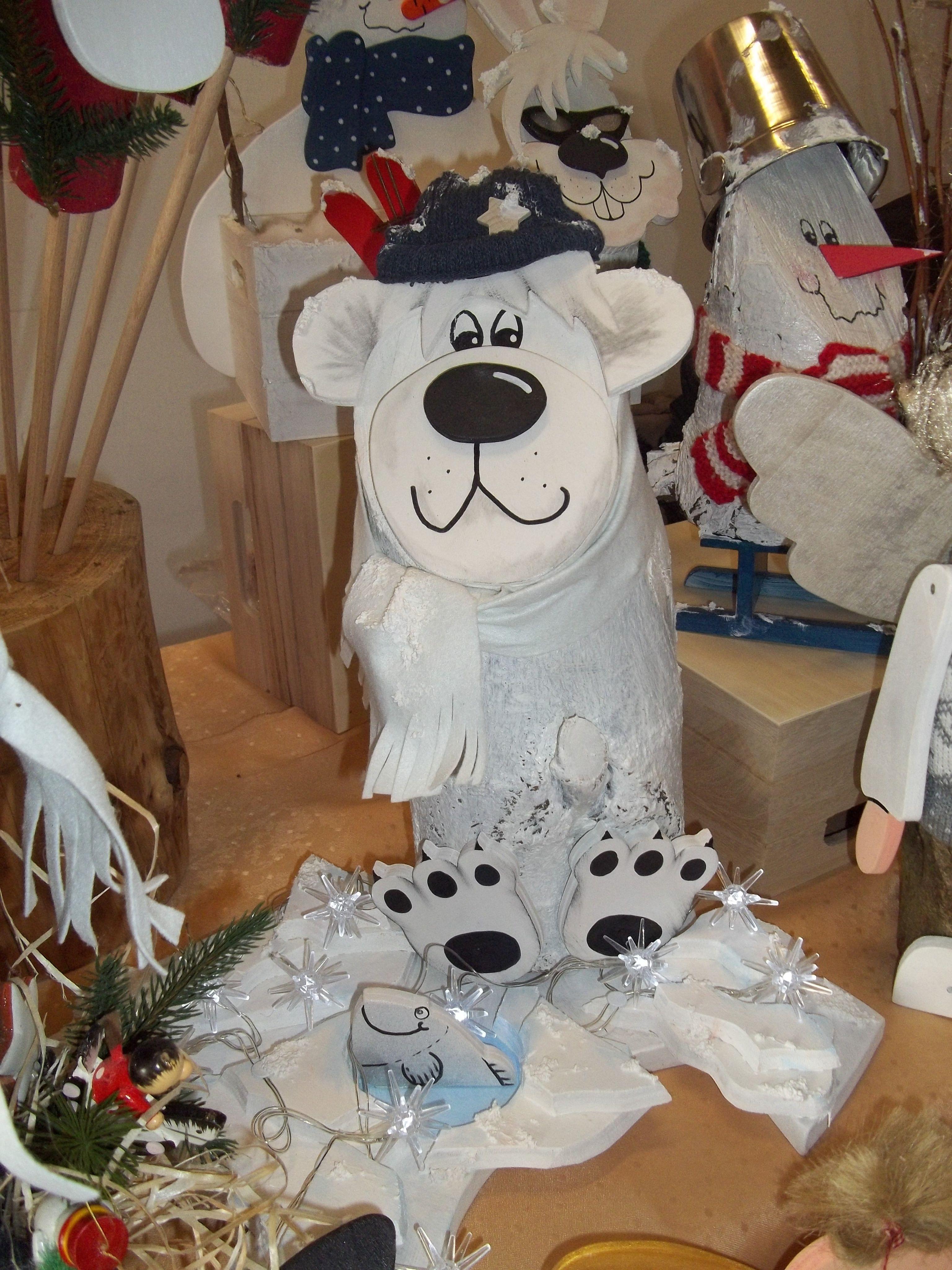 Eisb r holzfigur aus baumstamm gartendeko wood craft for Gartendeko baumstamm