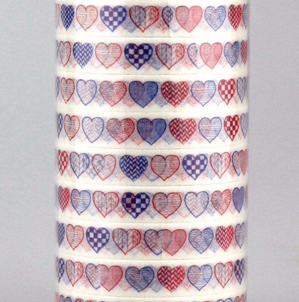 Patriotic Hearts, Skinny, 10mm Washi Tape by DaisyGreyPretties on Etsy https://www.etsy.com/listing/400691933/patriotic-hearts-skinny-10mm-washi-tape
