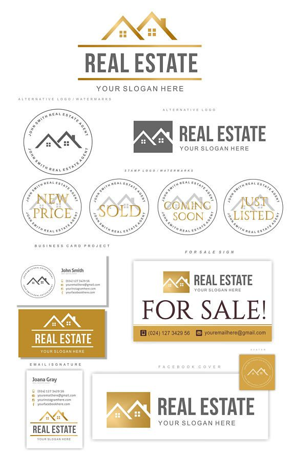Real Estate logo house, Agent logo design, Real estate business card ...