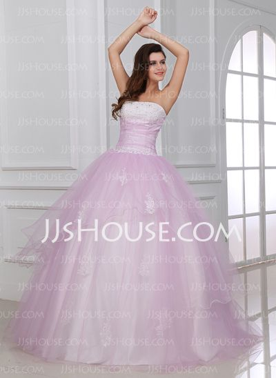 Ball-Gown Strapless Floor-Length Satin Tulle Quinceanera Dresses With Lace Beading (021017435)