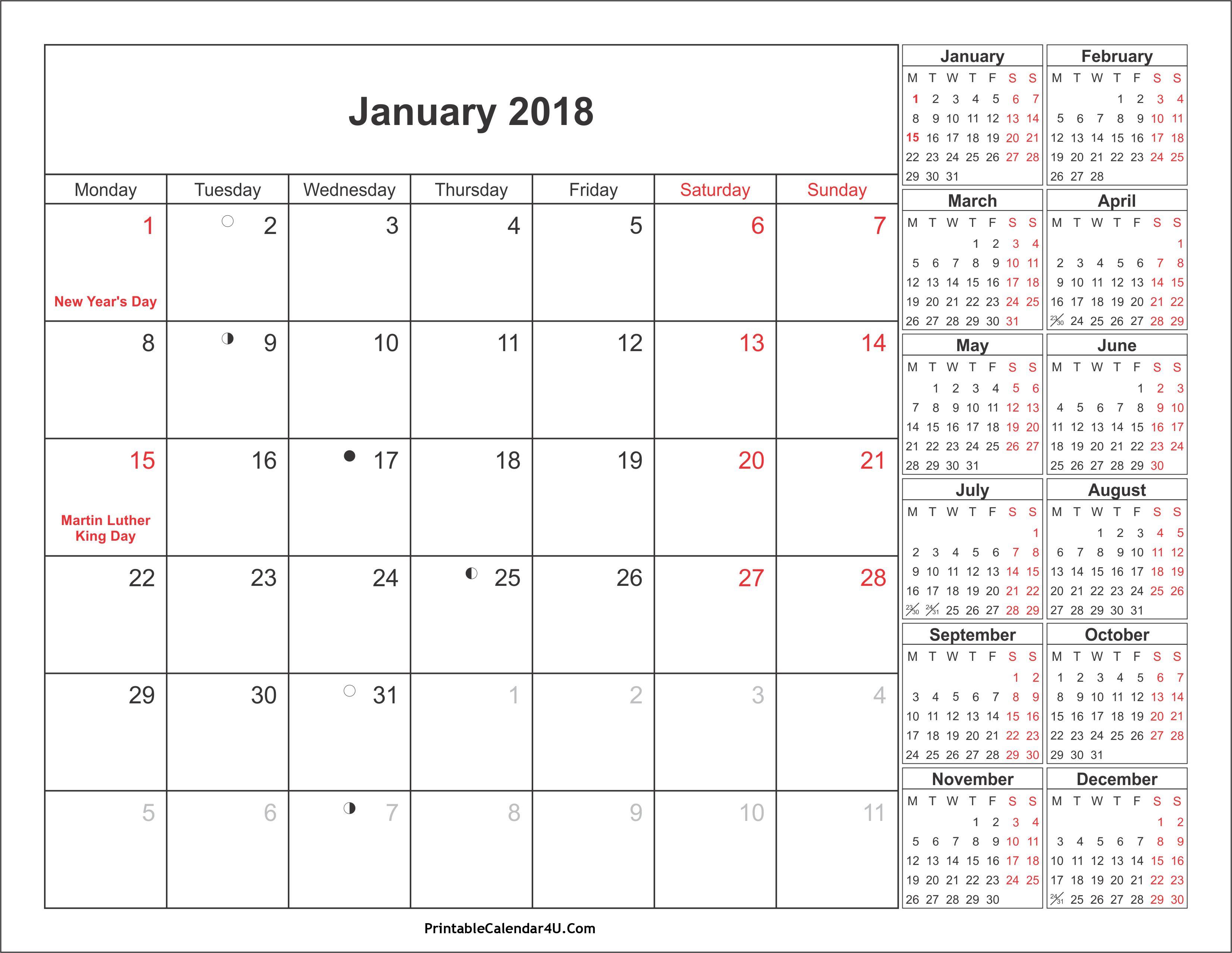 january 2018 calendar printable with holidays pdf and