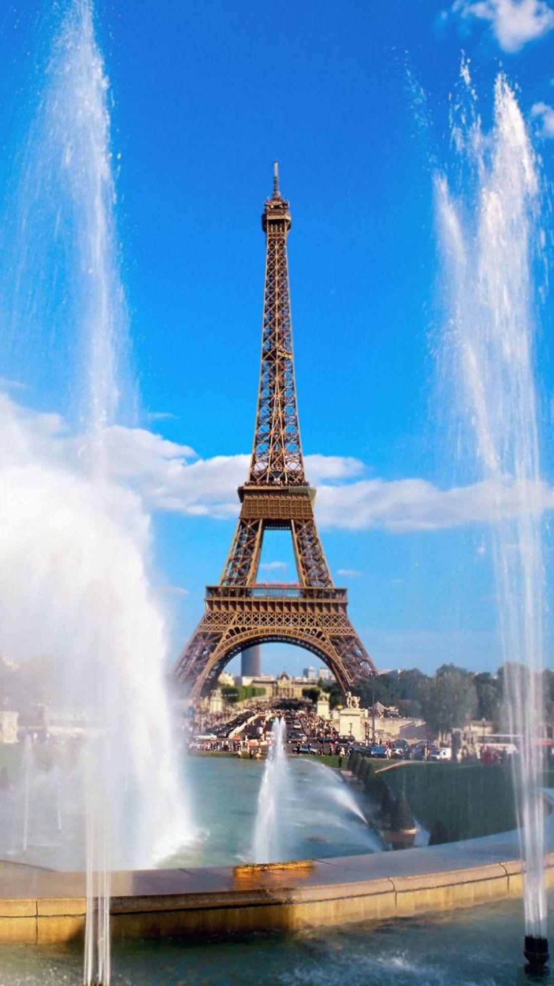 eiffel tower, fountain, paris, france, sky