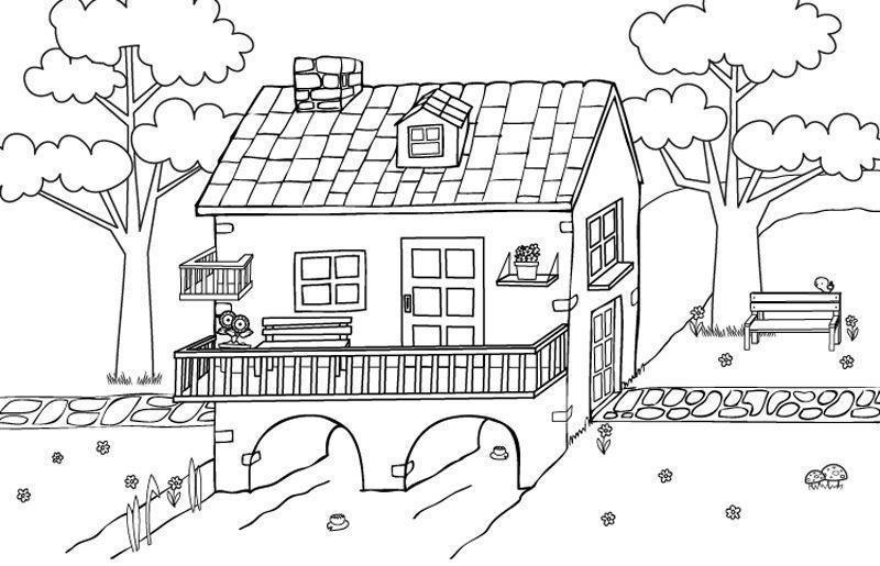 Casas Bonitas Para Colorear