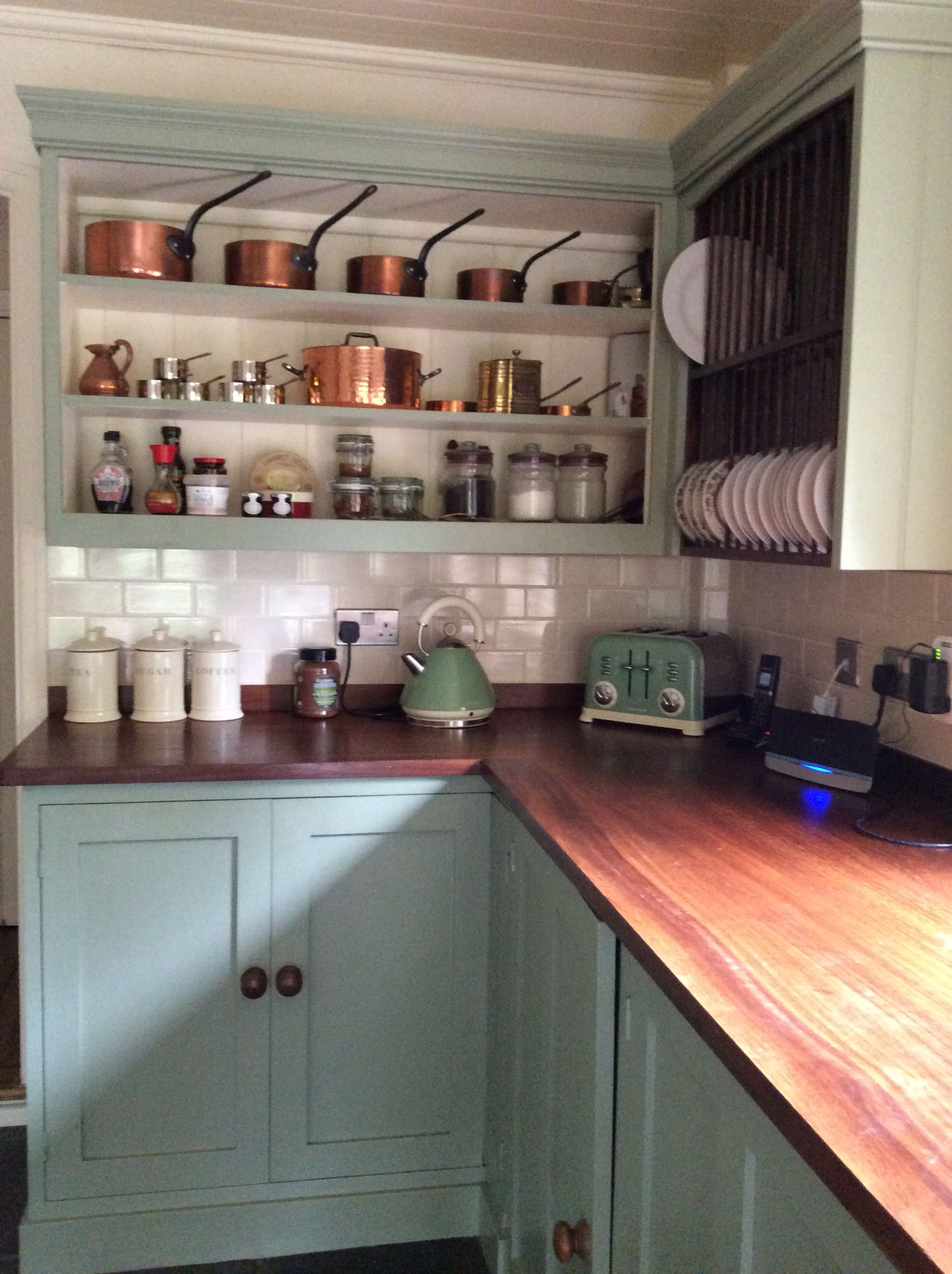 open shelves with copper pans house styles victorian homes open shelving on kitchen decor open shelves id=38707