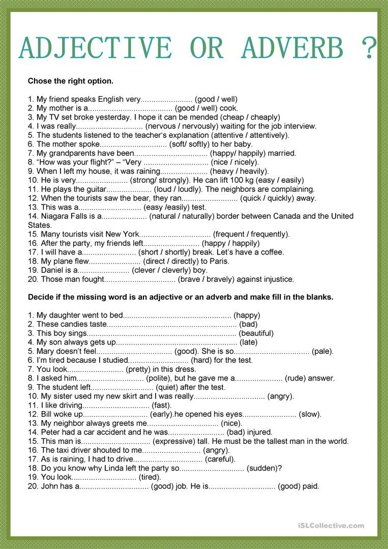 Adjective Or Adverb English Esl Worksheets For Distance Learning And Physical Classrooms In 2020 Adverbs Worksheet English Adjectives English Grammar Worksheets