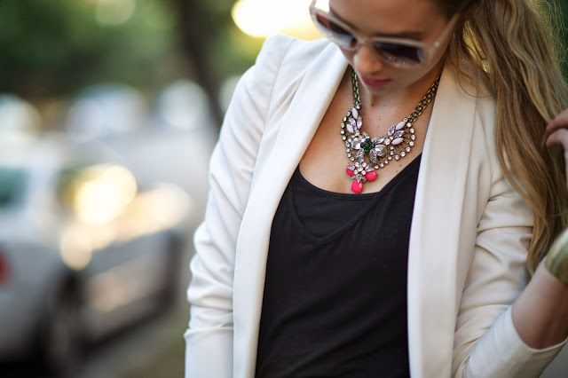 @T.+j Designs luxe brooch crystal & neon necklace. styled by @Sheridan Trinque Trinque Nicole
