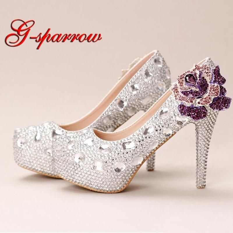 d682103febe Silver Crystal Wedding Shoes Ultra High Heel Platform Bride Shoes Round Toe  Graduation Party Prom Shoes Purple Rhinestone Flower  mermaidbridalgowns ...