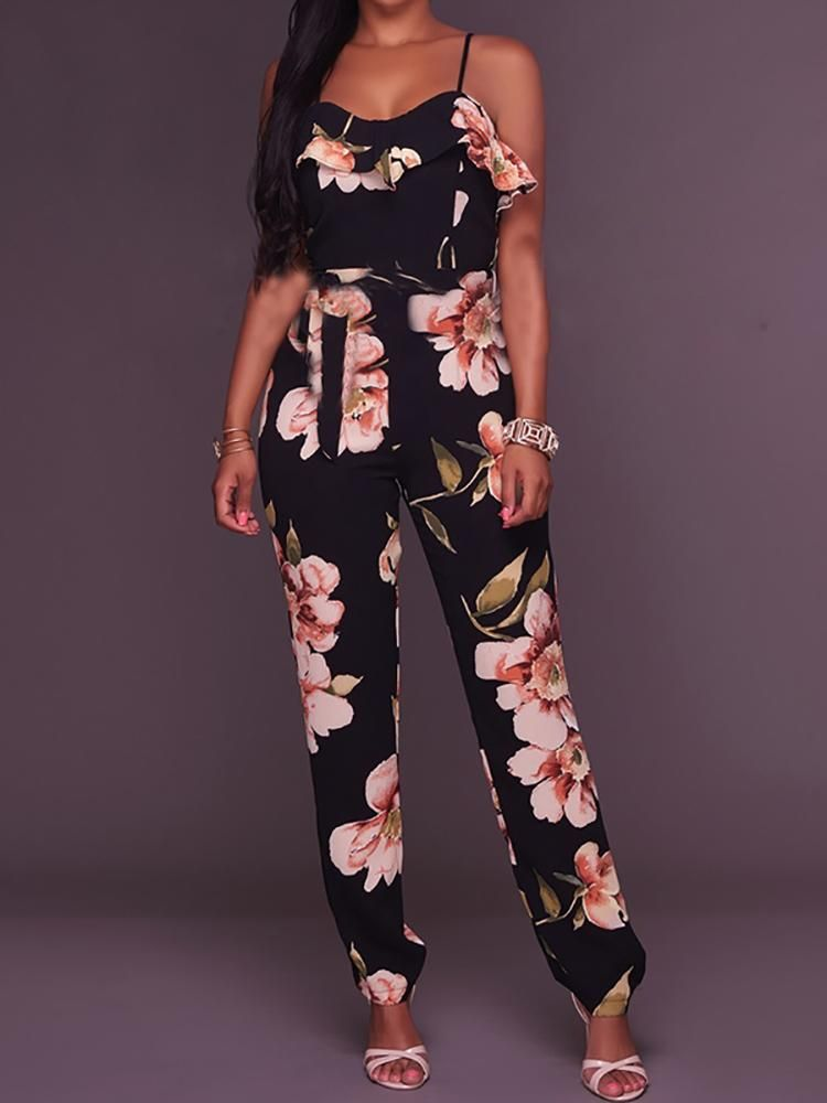 4d9b7695ce8 Floral Print Strappy Ruffled Slinky Jumpsuit