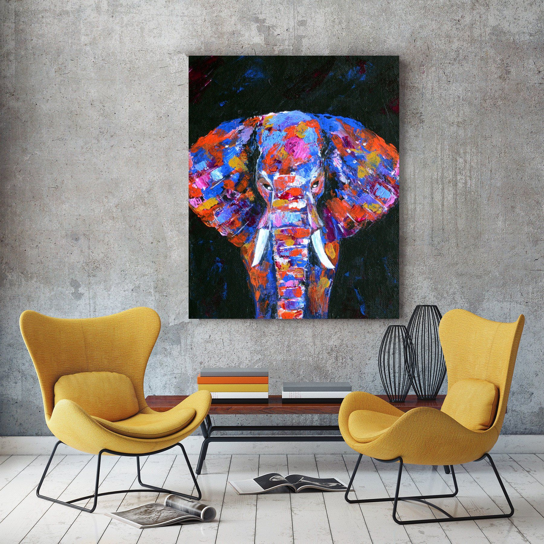 Abstract Elephant Painting, Original Elephant Art, Palette Knife Art, Colorful