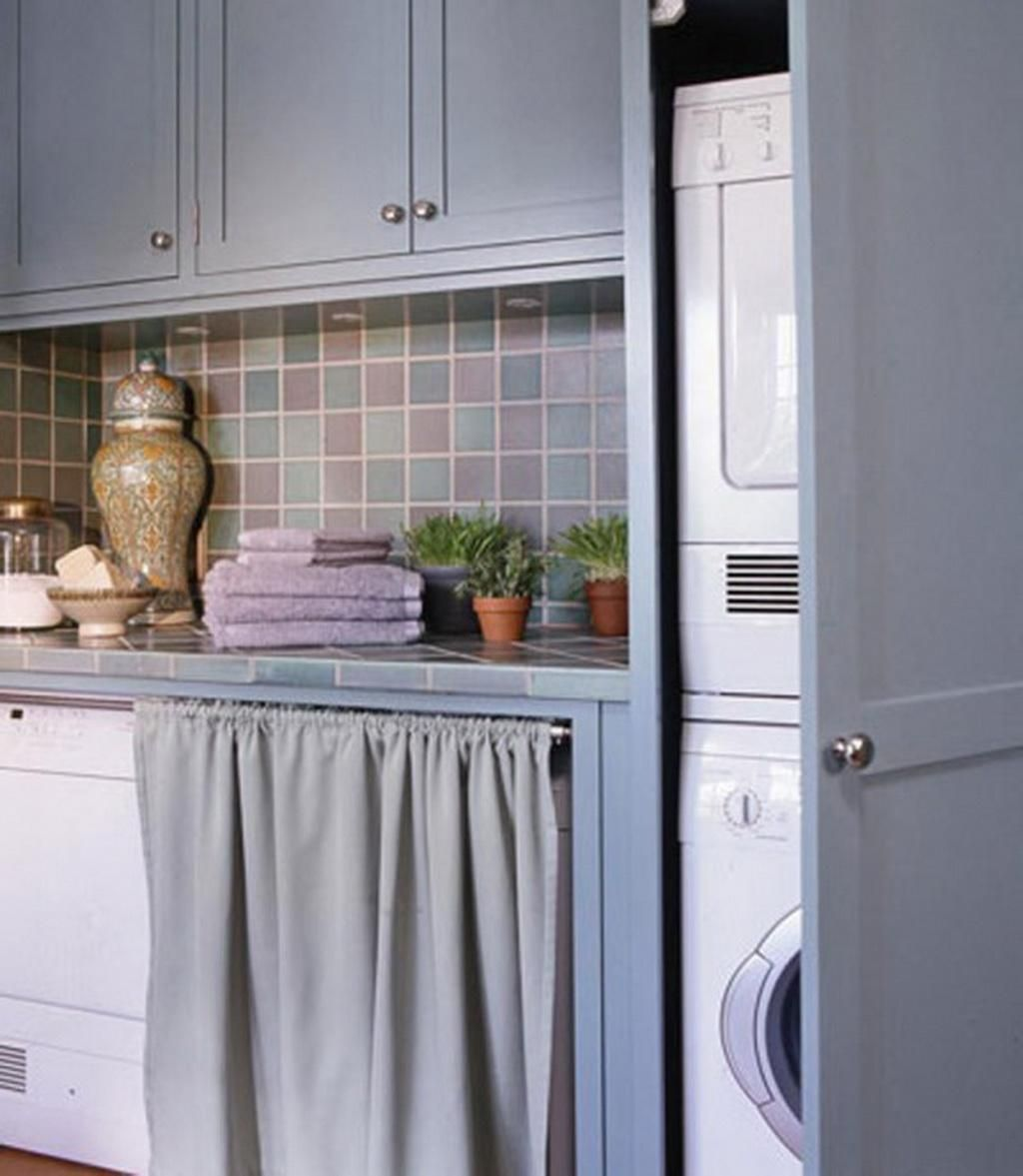 Contemporary Gray Laundry Room Curtain Design Beside Washing
