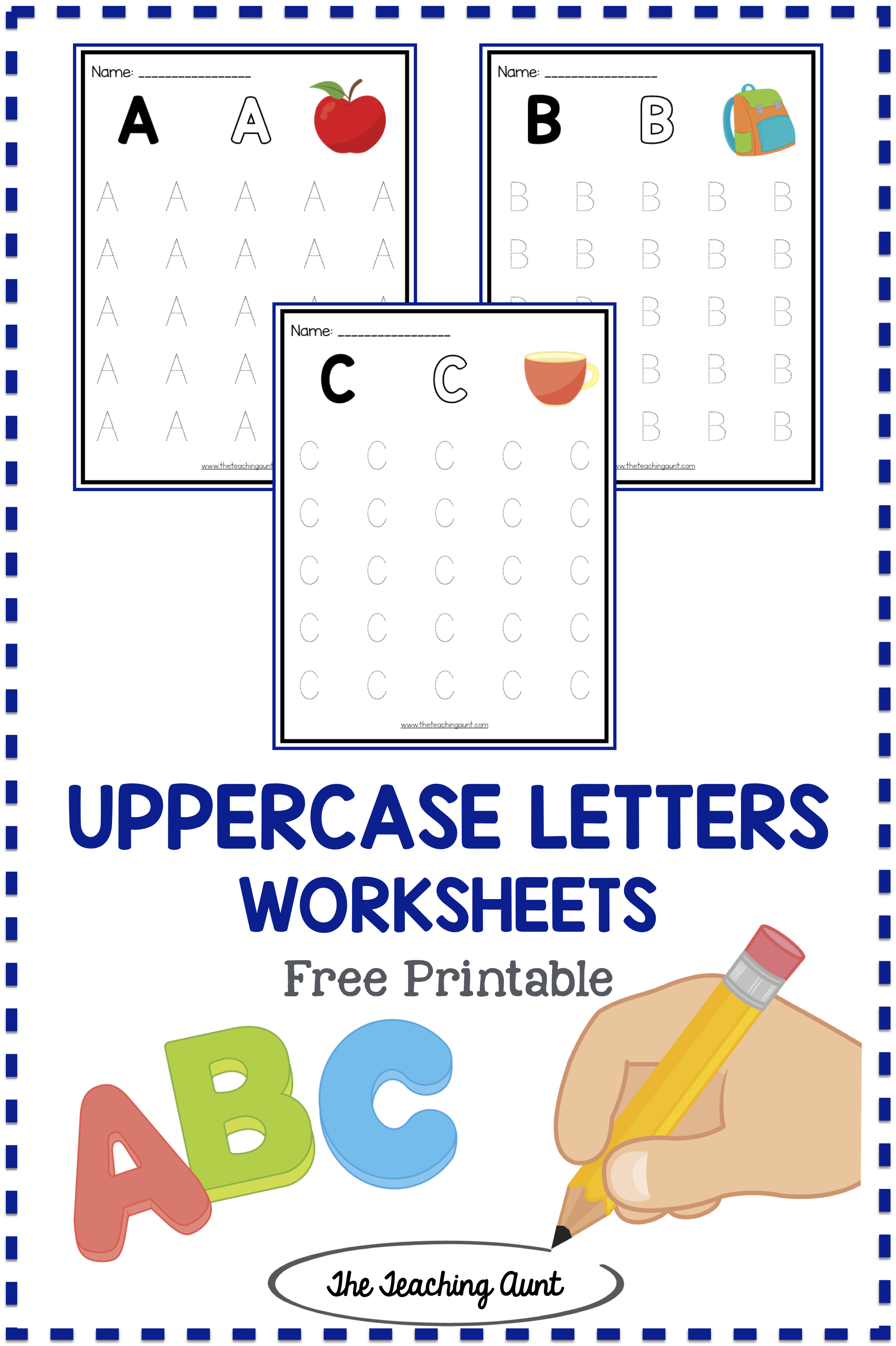 Uppercase Letters Tracing Worksheets Set 1 With Images