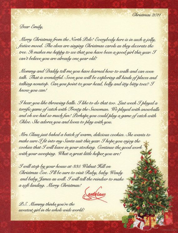 Holidays personalized childrens letter from santa father christmas holidays personalized childrens letter from santa father christmas traditional handmade 1295 via etsy kids pinterest father christmas spiritdancerdesigns Images