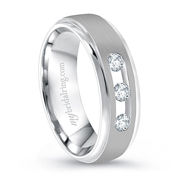 Three Diamond Studded Wedding Band In 14k White Gold White Gold Wedding Bands Diamond Wedding Bands Diamond Studs