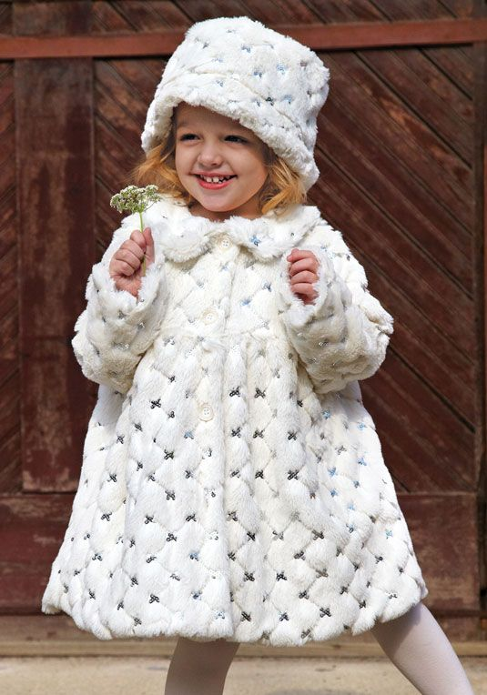 3e19d606198b Girls Ivory Faux Fur Sequined Coat   Hat