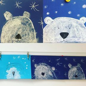 """Ħακʋиα Ѧαтαтα 🦁 on Instagram: """"Eisbär voraus ❄️Super easy – ohne großen Aufwand und viel Schnickschnack. Blaues Tonpapier A4, Tafelkreide, schwarzes Tonpapier für die…"""""""