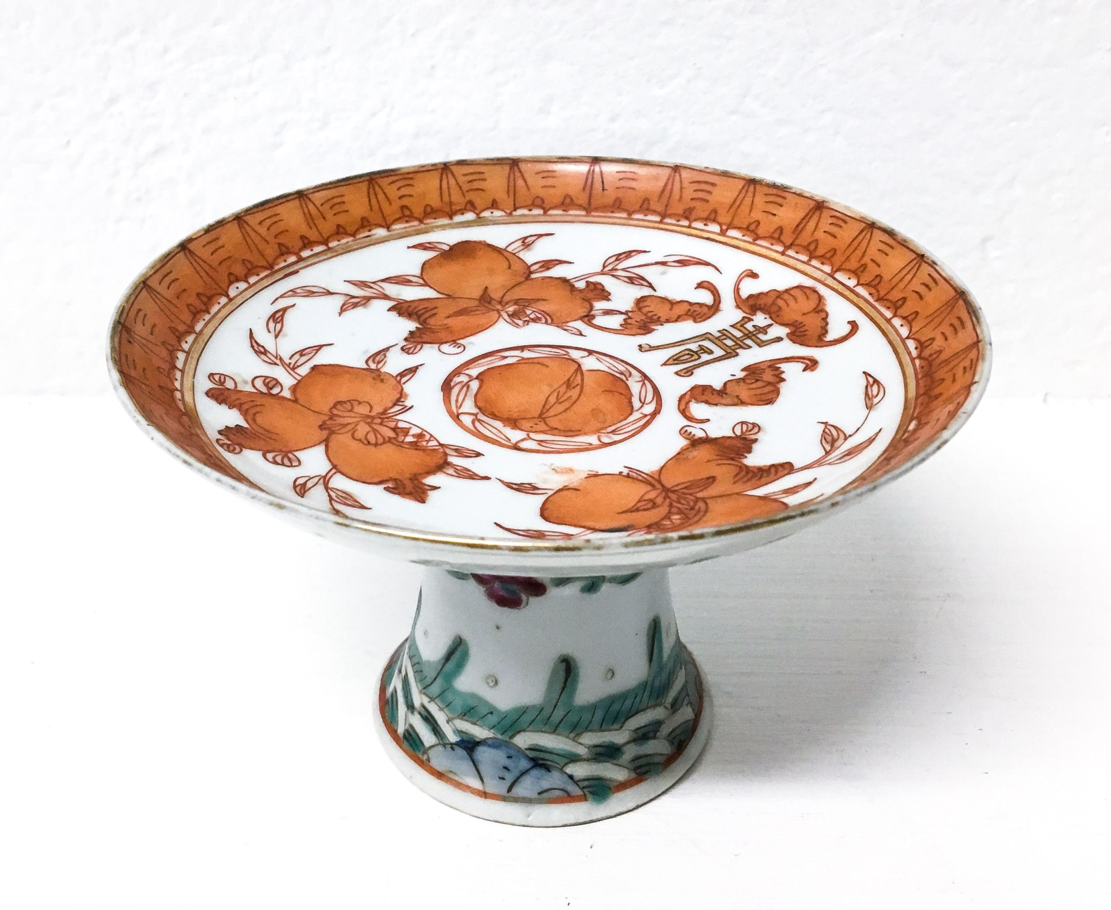 Alzatina cinese d'epoca, in porcellana dipinta. Cina ...
