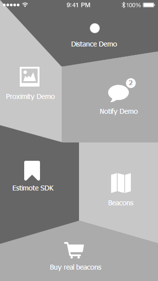 Main Menu from Estimote – creative design solution