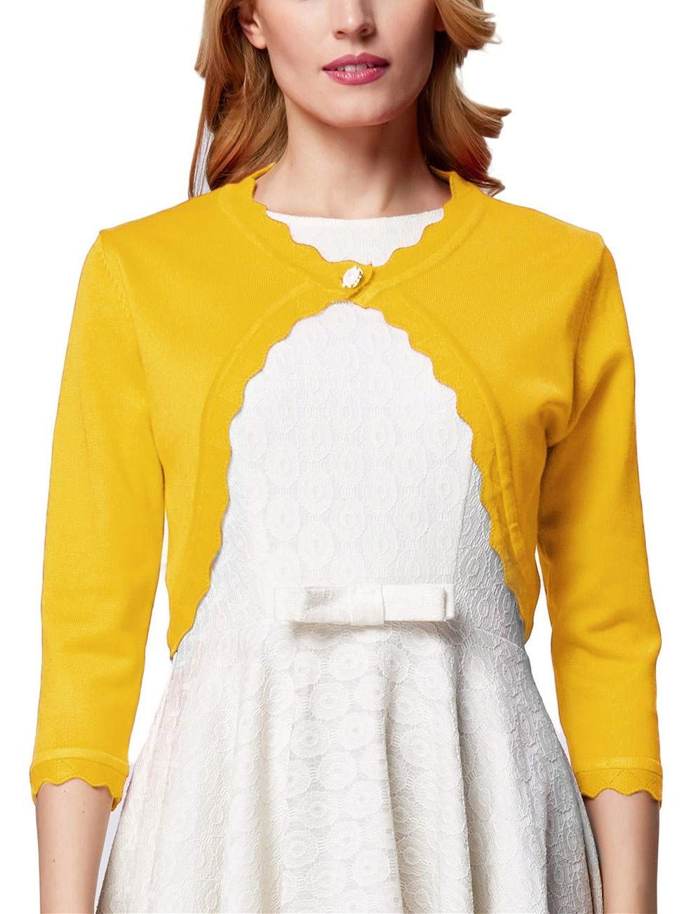 GRACE KARIN Womens Long Sleeve Open Front Knit Cropped Bolero Shrug Cardigan