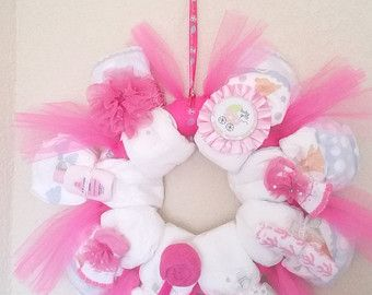 Baby Girl Diaper Wreath di dorenetx su Etsy