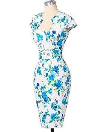 GRACE KARIN® 50s Vintage Rockabilly Kleid Pencil Bleistift Kleid ...