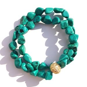 Green Turquoise Double Wrap Bracelett | Available only at Peyton William. www.peytonwilliam.com