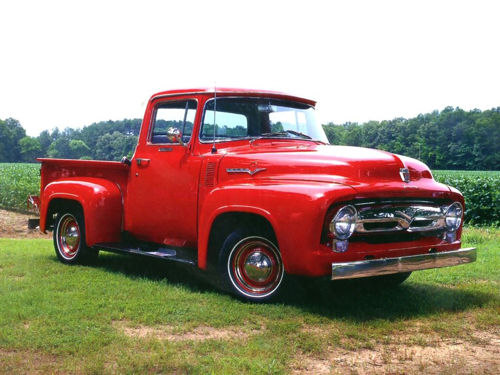 1956 Ford F 100 V 8 Pickup Red Fvr Transport Wallpaper Image Featuring Cars Old Pickup Trucks Pickup Trucks Truck Wallpaper