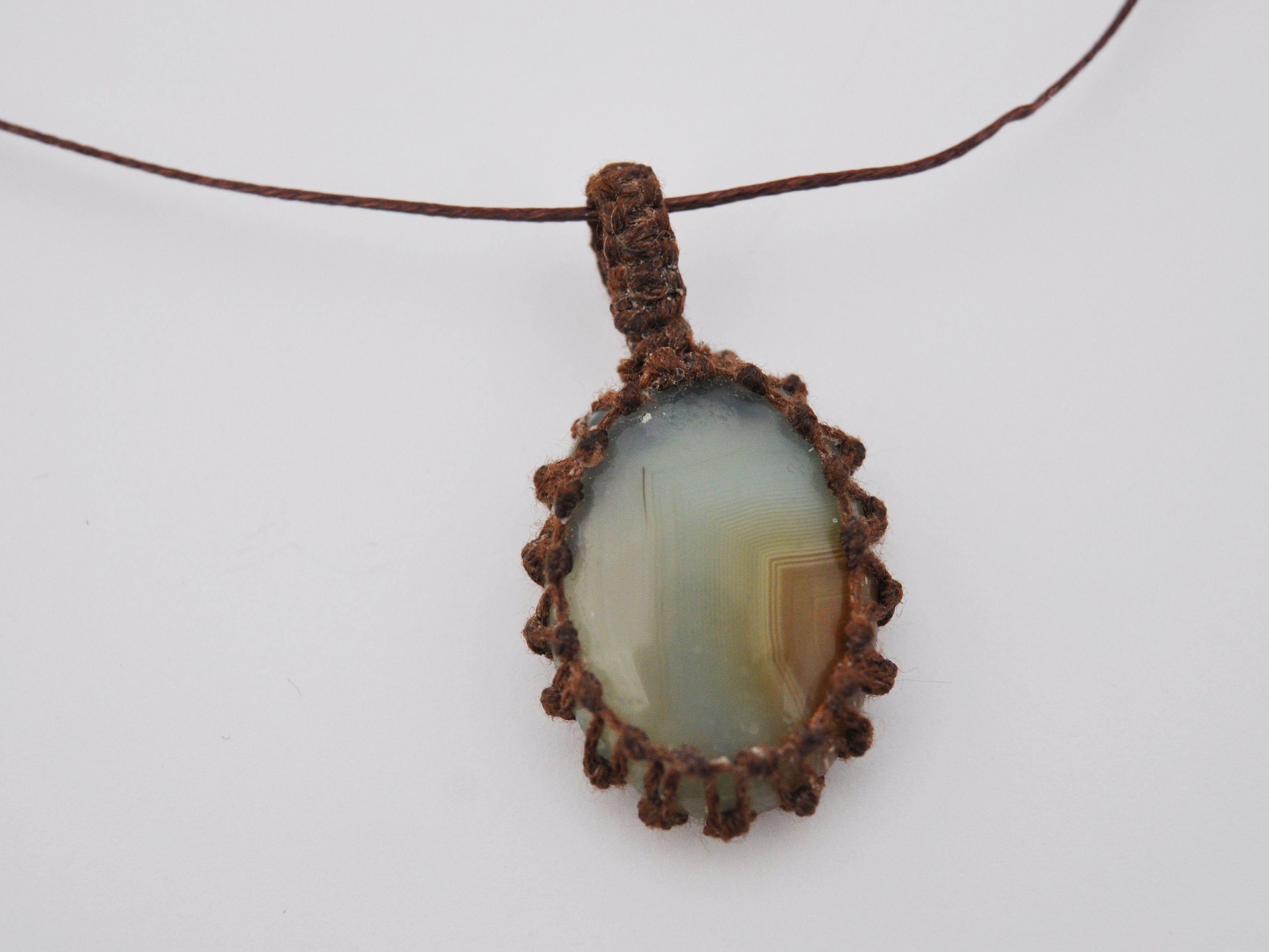 Agate Macrame Wrap Chord Necklace Knotted In Brown Cotton On Etsy In 2020 Crystal Necklace Pendant Boho Jewelry Pricing Jewelry