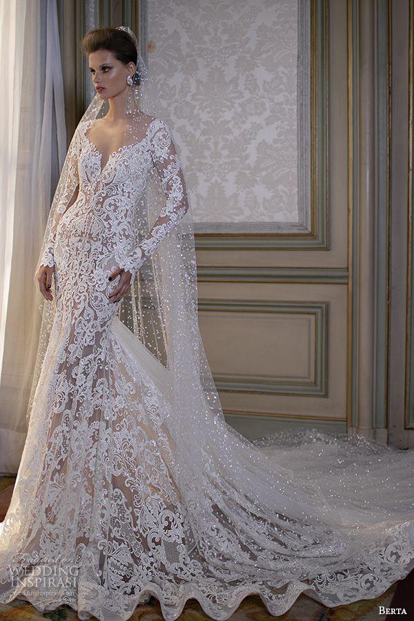 Berta Fall 2016 Bridal Gorgeous Beautiful Lace Embroidered Mermaid Wedding Dress
