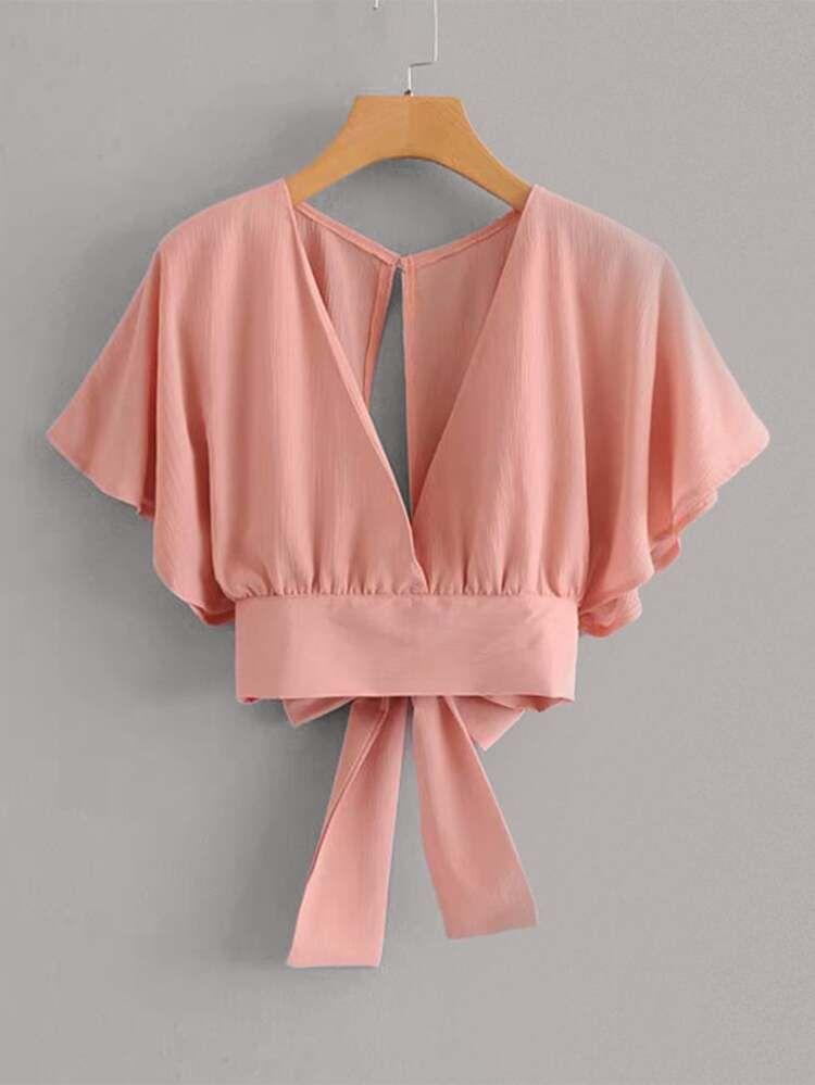 Tie Back Butterfly Sleeve Blouse