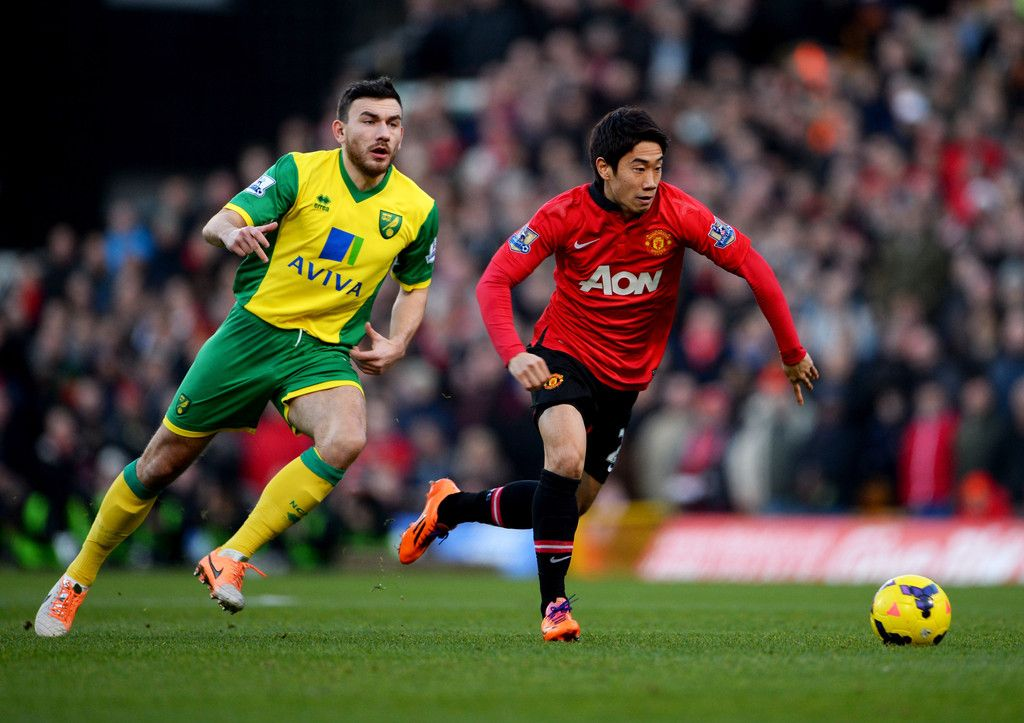 Shinji Kagawa Of Manchester United Against Robert Snodgrass Of Norwich City Manchester United Video Norwich City Manchester United