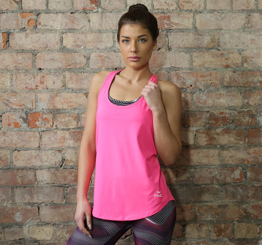 Make a statement in our neon pink ladies gym top; wear it