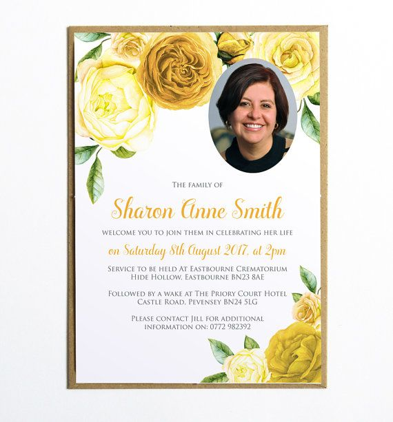 Funeral Memorial Announcement Or Invitation  Yellow Rose Printable