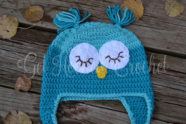 Child/Toddler Crochet Owl Hat, Owl Hat, Owl Beanie, Owl Earflap Hat ...