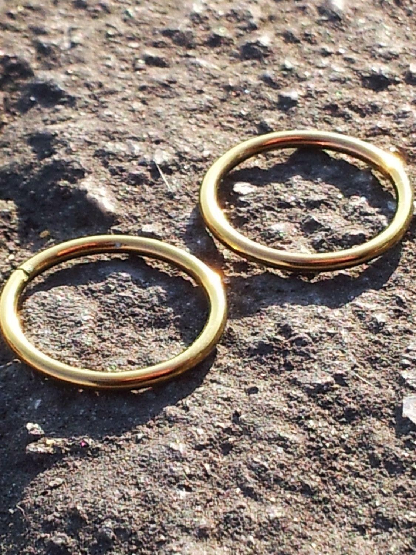Pair of 16g 716 11mm Niobium Seam Rings Hoops Body Jewelry Gold