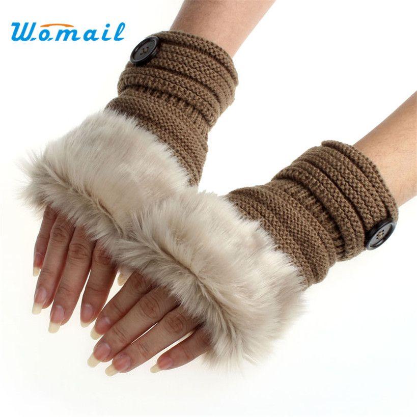 Amaizng 패션 겨울 니트 가짜 모피 손가락없이 장갑 여성 손목 소프트 따뜻한 딱지 무료 배송
