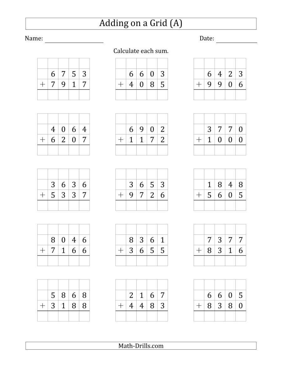 The Adding 4Digit Plus 4Digit Numbers on a Grid (A) Math
