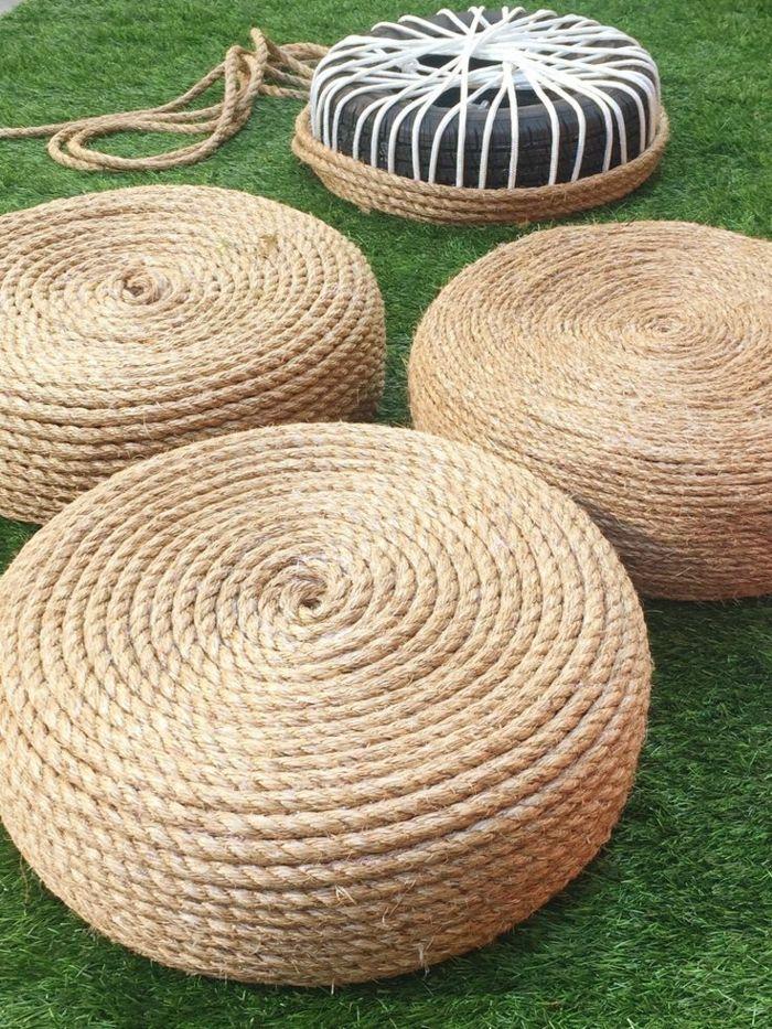 Reifen Deko dekoideen einrichtungsbeispile seil dekoration teppich trucs