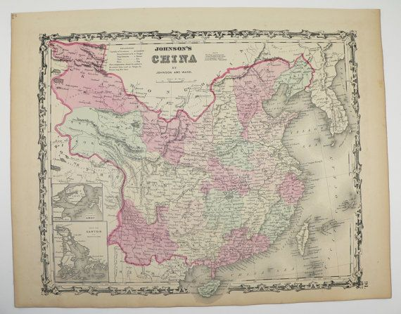 Antique map china taiwan map korea 1863 johnson china map chinese antique map china taiwan map korea 1863 johnson china map chinese decor wall art map old world travel map vintage map china office decor gumiabroncs Image collections