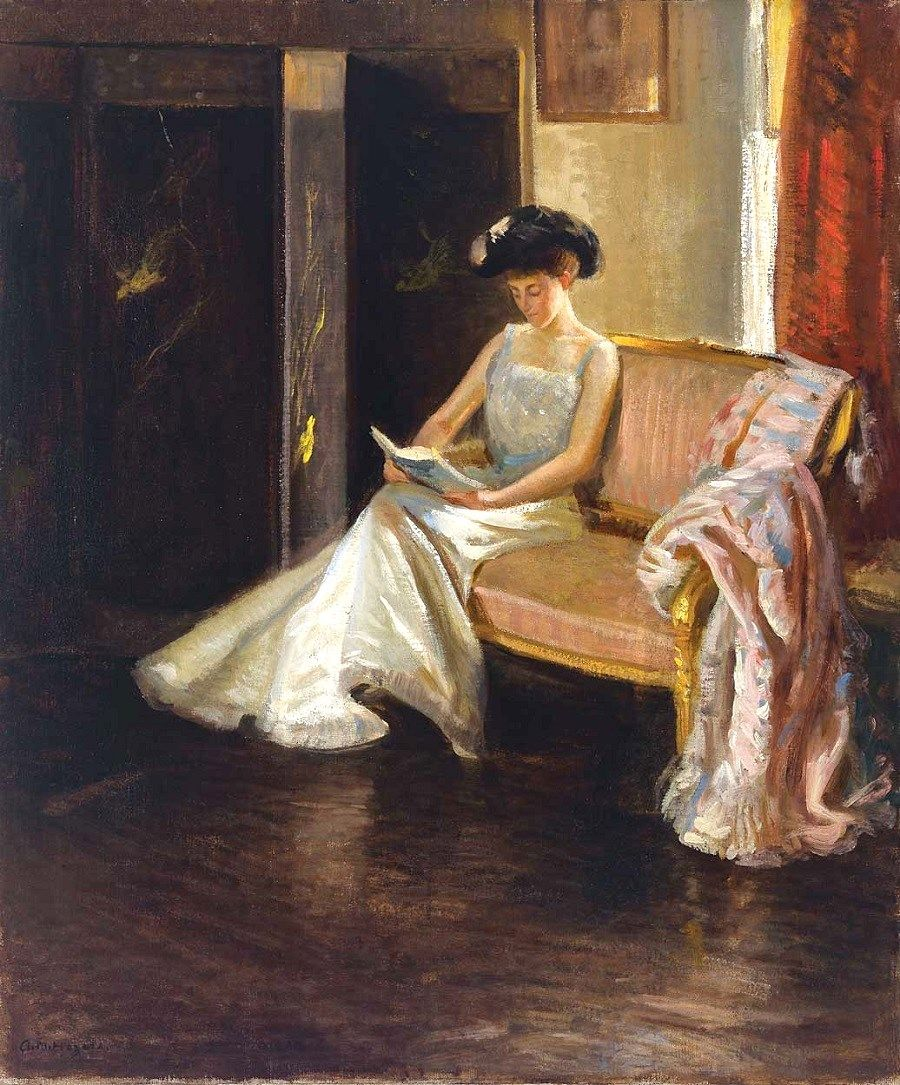 Arthur M. Hazard (American artist, 1872–1930) Woman Reading in an Interior