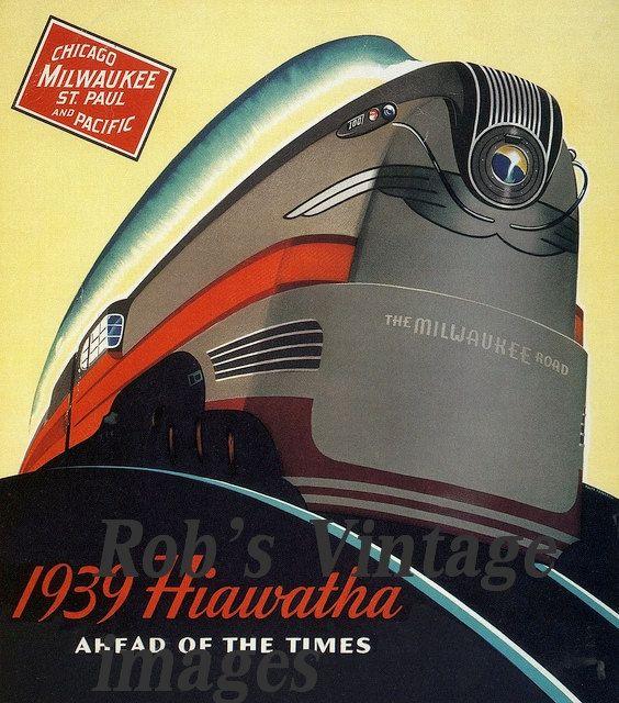 "Milwaukee Road Hiawatha Train Poster 1939 Art Deco Steamliner Railroad 8 x 11.5"" Train CMSP"