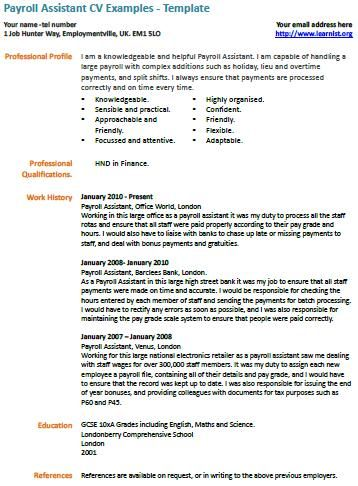 Payroll Assistant cv example Resume cover letters Pinterest Cv