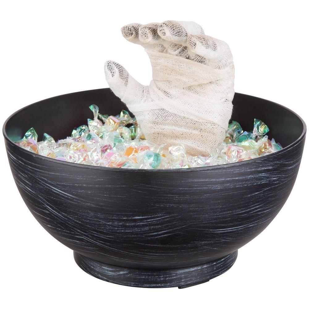 Gemmy Animated Mummy Hand Candy Bowl BLACK Halloween