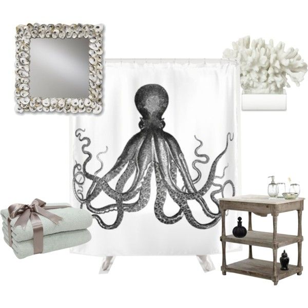 Vintage kraken octopus shower curtain nautical beach decor bathroom by  mbella678 on Polyvore featuring interior,