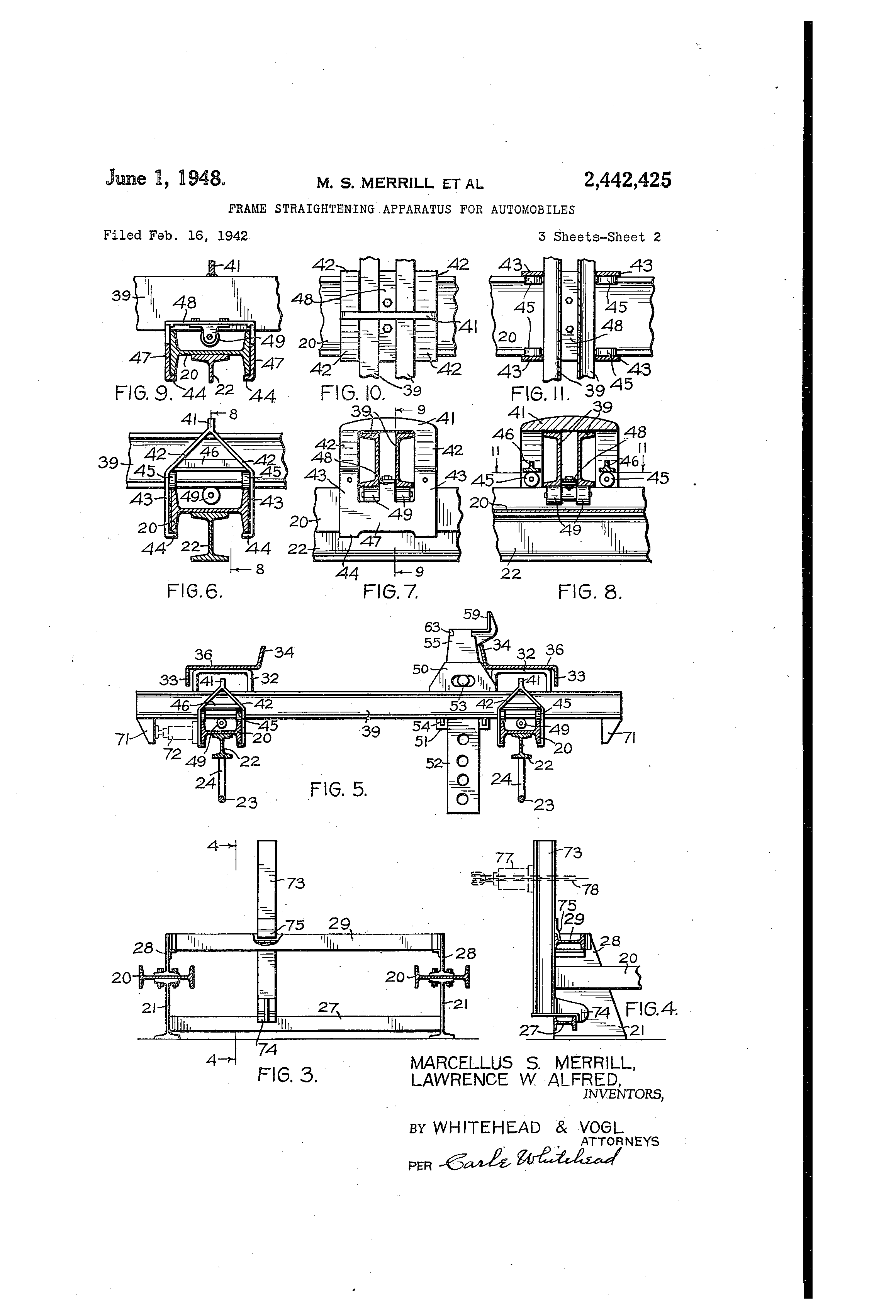 us2442425a frame straightening apparatus for automobiles google patents [ 2320 x 3408 Pixel ]